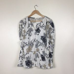 Sejour Offwhite Floral Design Cinched Sleeve Tunic